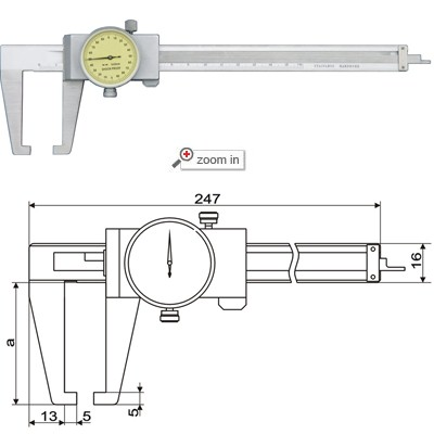 Outside Groove Dial Calipers With Flat Points