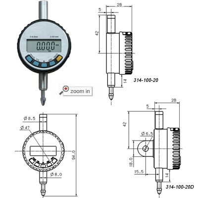 High Precision Digital Indicators(Range:0-6.5mm)