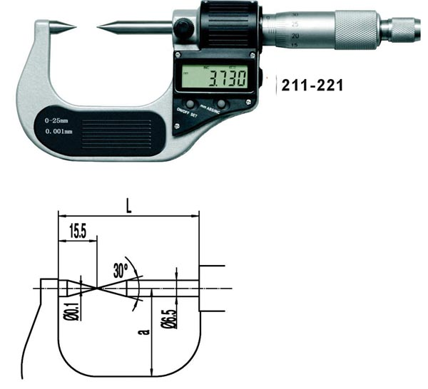 Point Type Digital Micrometers