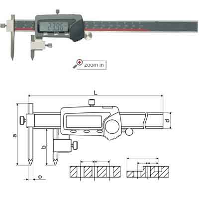 Centerline Digital Calipers With Conical Point