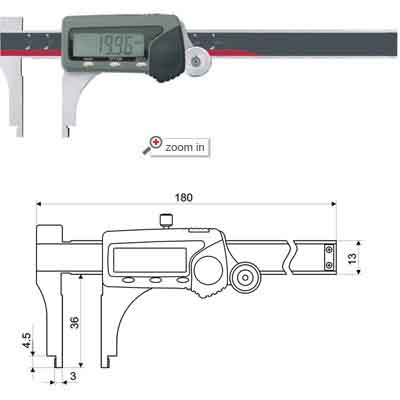 Digital Calipers With Thumb Roller(Low Jaws Type)