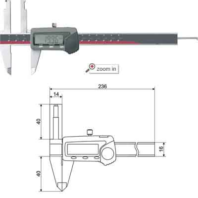 Inside Groove Digital Calipers With Upper Long Jaws(Depth Bar With Hook)