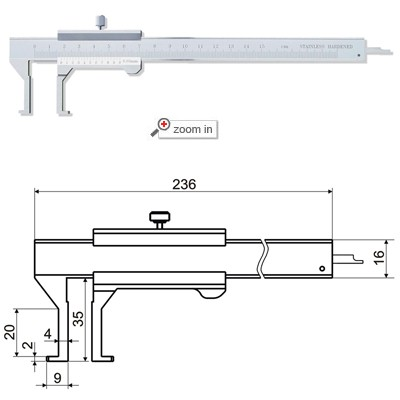 Inside Groove Vernier Calipers With Flat Points