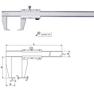 Outside Groove Vernier Calipers With Flat Points(Open Frame)