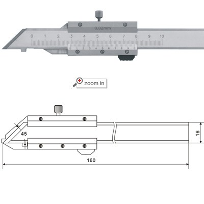 45°Vernier Calipers With Open Frame